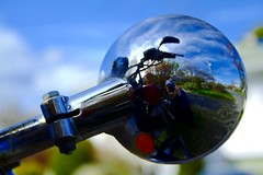 Motorcycle (McNeney) Tags: blue sky selfportrait reflection mirror shiny curvy chrome round motorcycle