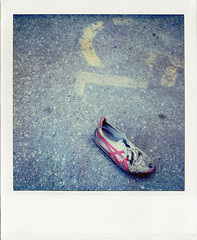 Lone Shoe Disadvantage (tubes.) Tags: square geotagged polaroid sx70 shoe minneapolis mpls squareformat handicap northeast mn foundobject timezero 45003416 9324986
