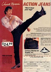 Chuck Norris action jeans (Inspector Clay) Tags: advertising spread pants legs kick leg ad stretch bin actor trousers publicity product cheap chucknorris karat 2499 endorsment