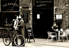 Envy . . . (Buileshuibhne) Tags: street city ireland friends boy people urban blackandwhite bw holiday girl monochrome cafe perfect kiss cork watching loveit voyeur bakery envy 123bw