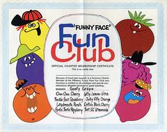 Funny Face Fun Club certificate