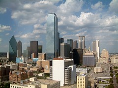 Dallas, Texas Skyline (garyhymes) Tags: new old city windows shadow sky usa glass cowboys skyline clouds buildings hotel dallas office bush downtown day texas shine view cloudy radisson south w gap clocktower convention majestic lonestar kennedy dubya skycrapers flicktion oswald shimmer bigd radissonhotel schoolbookdepository radissonhoteldallas