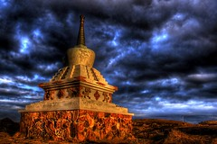 Stupa ... (asmundur) Tags: iceland shrine stupa reykjavik spiritual buddist congregation hdr sacrifice darksky kopavogur photomatix april2006 3exposures gtaggroup