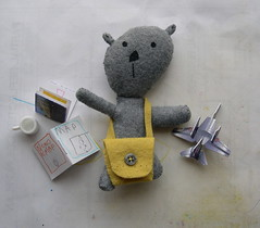 Ready to fly... (Lizette Greco) Tags: bear kids children toy toys teddy handmade small felt plush plushies softies teddybear greco lizette lizettegreco bunnybear grecolaborativo