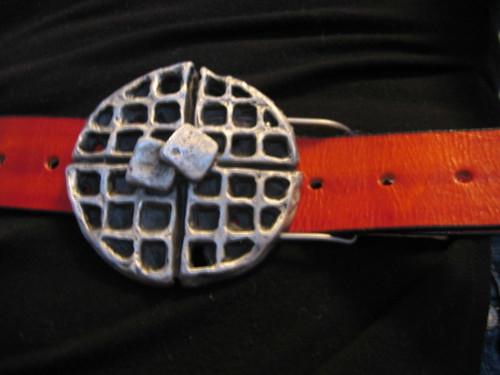 food orange black metal belt buckle waffle beltbuckle