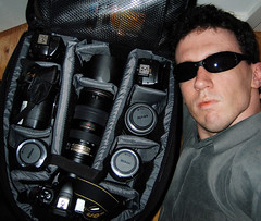 My Bag Is Packed and I'm Ready to Go (Ryan Brenizer) Tags: camera nyc newyorkcity newyork black me canon harlem manhattan flash ofme 2006 powershot equipment april myapartment s45 carpeicthus flickr:user=carpeicthus