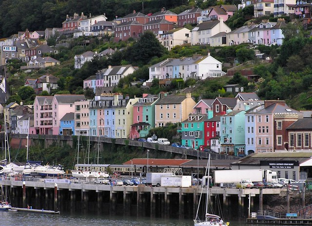 Dartmouth Harbour and coloured houses