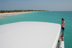 barbudaful (antiguan) Tags: pink roof boy white beach beautiful boat kid sand perfect coconut sandy antigua beaches boating kelly caribbean cody perfection barbuda perfectbeach