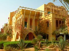 Sheraton Miramar Resort El Gouna, Hurghada - Egypt (mnadi) Tags: flowers sunset summer sky orange holiday flower colour garden hotel warm colours outdoor redsea curves egypt sunny el resort arabic clear gouna egyptian styles sheraton ethnic spa miramar hurghada michaelgraves bedouin  nubian elgouna bougainvilleas