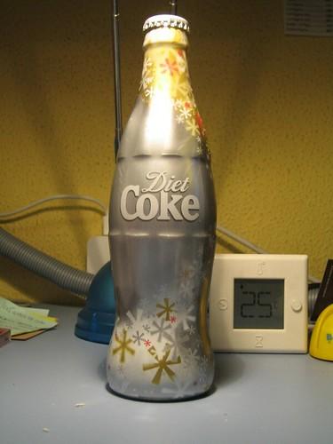 Diet Coke on metallic contour bottle