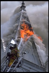 Lightning Struck (jetrotz) Tags: storm film fire screensaver photojournalism slide steeple flame chrome savannah ladder portfolio firefighter savannahgeorgia