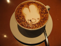 Rabbit face on cappuccino (digitalbear) Tags: rabbit bunny coffee japan moblog tokyo cappuccino gakugeidaigaku cappuccinoart