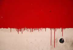 Delirium prototype (baboon) Tags: red white wall painting blood flag poland drip oneyear pl