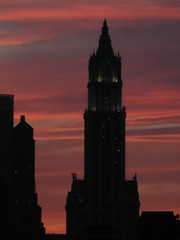 sunset behind the woolworth building by Pennance368, on Flickr
