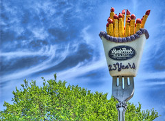 Broccoli, Fries, and Skies (Stuck in Customs) Tags: signs clouds austin restaurant cafe texas fork trendy hydepark hdr quriky i500 stuckincustoms thatotherpaper