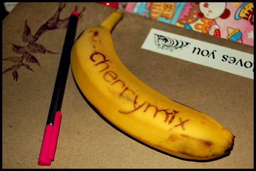 Banana Tattoo by CherryMix. Banana Tattoo with website address :)