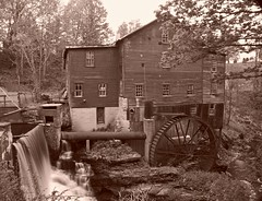 New Hope (Matt Champlin) Tags: blackandwhite bw history mill sepia pancakes waterfall ancient factory newhope waterwheel oldfashioned newhopemills