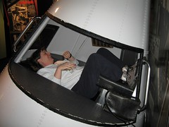 Maggie in the Mercury capsule simulator (Michael Berch) Tags: travel nebraska mercury maggie spacecraft projectmercury spacecapsule maninspaceprogram spaminacan