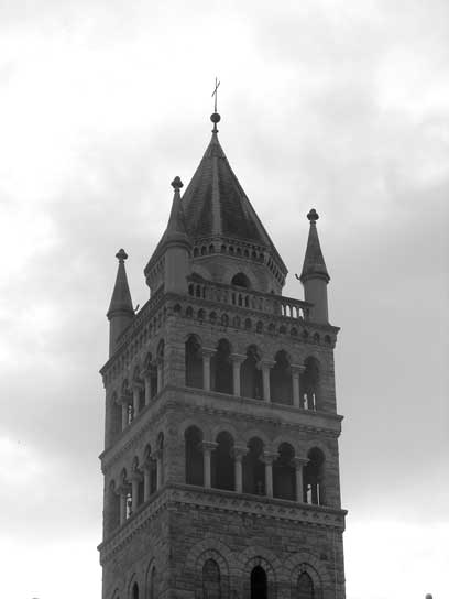 Church tower in b&w