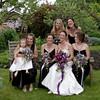 bride & bridesmaids & flowergirl on bench
