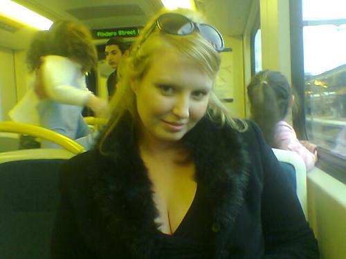 Brooke Enjoying Melbourne's Train System