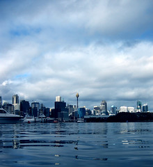 Sydney (jms) Tags: city blue sky reflection tower water clouds boats boat ship harbour ships low sydney sydneyharbour sydneytower