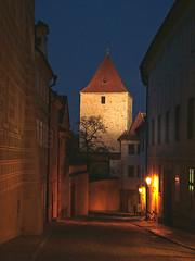 Gate Tower, Prague Castle (Rita Crane Photography) Tags: nightphotography urban architecture night europe nightshot prague stock praha explore czechrepublic hradcany urbanlandscape praguecastle stockphotography gatetower ritacrane ritacranephotography wwwritacranestudiocom historicprague