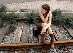 waiting (artelisa) Tags: portrait woman girl waiting boots suitcase artelisa railroads ip somebody happybirthdayeutin 300807 12preselection wiwtseob