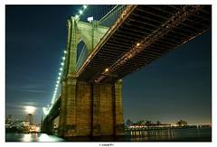 Moon Rise over Brooklyn (Arnold Pouteau's) Tags: nyc newyorkcity moon newyork brooklyn night river manhattan brooklynbridge rise f50 twtmeblogged
