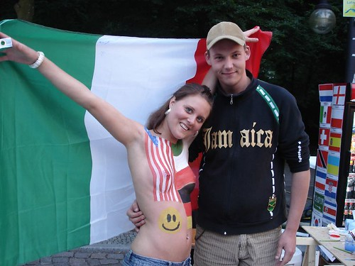 Italy Sexy Fan Girl Photos with Flag