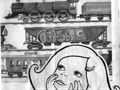 train dreaming (BIGAWK) Tags: street color cute art love girl collage illustration painting graffiti design sketch graphics paint child graphic little drawing character daughter dream trains sketchbook study imagination characters sharpie create draw graff blackbook kidsdrawings