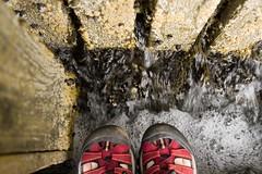 Red Toesies (Kalabird) Tags: ocean wood travel red vacation usa feet pier dock shoes toes maine barnacles deerisle keens canonef24105mmf4lisusm utatawalksthisway