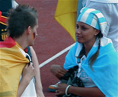 German Boy and Argentine Girl (Leucippus) Tags: boy paris france argentina girl germany deutschland football stadium soccer 2006 weltmeisterschaft wm fans worldcup stadion fuball argentinien fuballweltmeisterschaft quarterfinal stadecharlety viertelfinale criticismwelcome