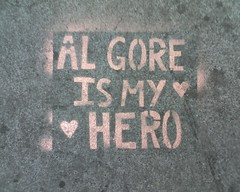 Al Gore is my hero (Steve Rhodes) Tags: cameraphone sanfrancisco june mobile moblog stencil treo heart sidewalk algore treo700p sfchronicle96hours upcomingevent132130
