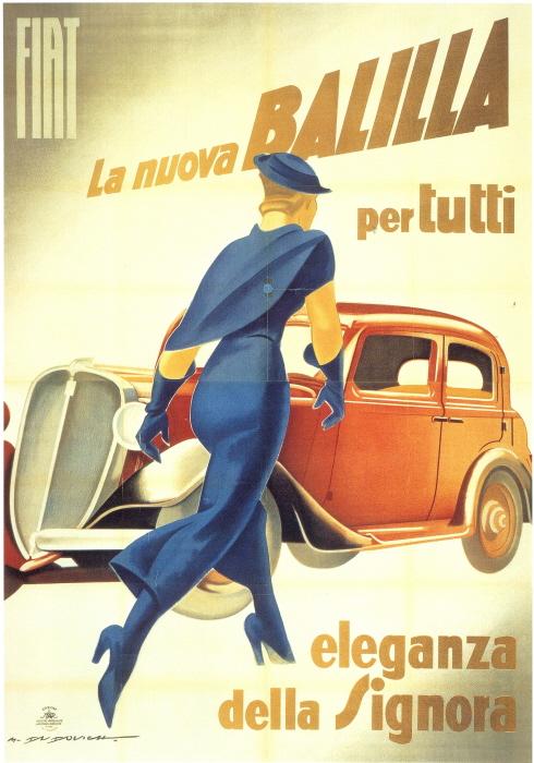 Marcello Dudovich, Fiat Balilla ad, 1934