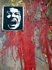 The Red Blood of Courage (Leon Sammartino) Tags: red art blood stencil paint melbourne scream sync lanes grafetti syn