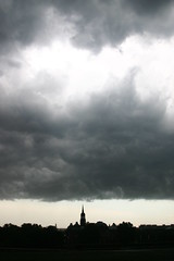 Dresden clouds (Emilia Tjernstrm [Arriving at the horizon]) Tags: city sky black skyline clouds dark dresden ominous utata:project=justblack