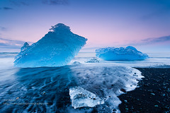 Ice (Joe Azure) Tags: iceland azure beach sunrise sunset landscape jazure sandy seascape blacksand ocean iceberg ice icebergs