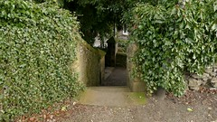 2015-03-21 16:07:00 Towards the Gate, Bakewell (MedEighty) Tags: 2015 march uk england derbyshiredales derbyshire bakewell town small spring allsaints church allsaintschurch stairs gate path moss weathered climbers creepers green medeighty