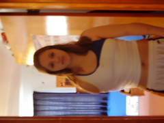 my sis with no arm. creepy. she really does have an arm tho. (shanton13) Tags: shirt weird crazy sister creative fake hide armless