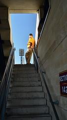 The Gatekeeper (MPnormaleye) Tags: park sports concrete lights uniform baseball stadium steps stairway utata bleachers usher