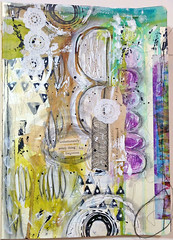 Art Journal Page - Forgotten (Roben-Marie) Tags: art collage mixedmedia painted journal layered stenciled artjournaling doodled robenmarie documentedlifeproject arttothe5th
