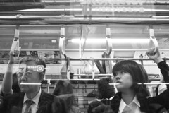 Heading to the office (Thorsten Reiprich) Tags: city summer people urban blackandwhite woman man travelling japan train underground asia traffic metro capital transport peak business rush hour   kanto jaded tokio honshu