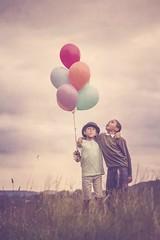 Best Friends Forever (SoulCatcher (UK)) Tags: boys field grass balloons children twins child brothers bestfriends
