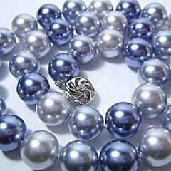 สร้อยคอมุก แฟชั่นเกาหลีออกงาน10mm Shell Pearl Necklace นำเข้า สลับสีน้ำเงินเทาเงิน - พร้อมส่งW264 ราคา 590 บาท อินเทรนด์แบบสวยสไตล์หรูเซเลบ Blue Silver Grey South Sea Shell Pearl Necklace เหมาะสำหรับใส่ออกงานไปงานราตรี งานแต่งงานแบบเครื่องประดับแฟชั่นหรูๆ