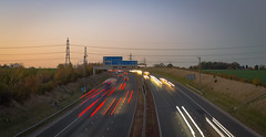 Sunset along the A1(M) in Yorkshire (CallumParry1) Tags: a1m a1 motorway sunset highway road yorkshire uk autumn powelines nikon d3100 photoshop lightroom