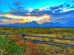Sunset (sandy bohlken) Tags: 2016 grandtetonnationalpark jacksonhole nationalpark september tetons wyoming vacation sunset iphone buckrailfence
