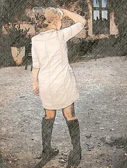 looking for me...? (iEagle2) Tags: sketch ep2 female femme frau legs norway olympusep2 olympuspen summer woman