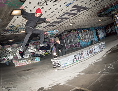 Skate board kick flip (jerry_lake) Tags: 14power 14jan2017 city d750 iso1000 london nikon16mmfisheyef28 nikonsb900 southbankskateboardcentre f63 kickflip manualflash skateboarding