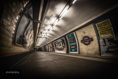 That empty feeling (Alex Chilli) Tags: southgate tube station london metro underground platform empty abandoned desolate lights perspective canon eos 70d